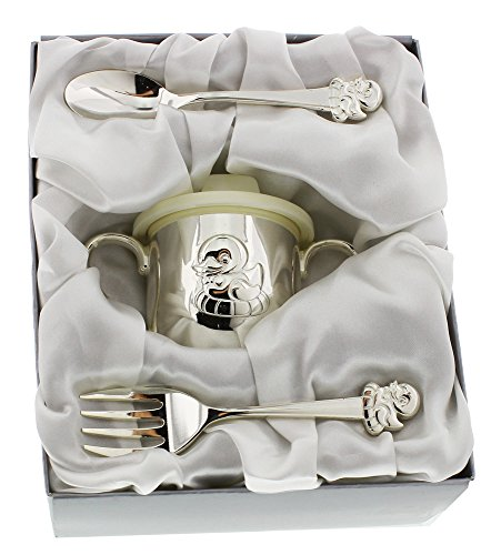 Silver Plated Duck Design Baby Spoon, Fork and Cup Set By Haysom Interiors (Silver Spoon Baby compare prices)