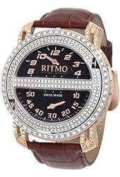 Ritmo Mundo Men's D201/1 SS RG Diamond Persepolis Triple-Time Orbital Case Quartz Watch