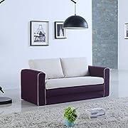 Divano Roma Furniture Modern 2 Tone Modular/Convertible Sleeper (Purple/Beige)