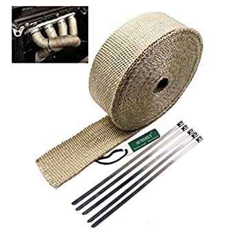 SUNDELY® Cream Color Glassfiber Exhaust Pipe Header Heat Wrap Resistant Downpipe Tape Roll 2in X 49ft (5cm X 15m) + 5 Metal Ties
