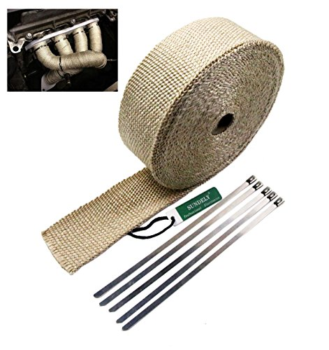SUNDELY® Cream Color Glassfiber Exhaust Pipe Header Heat Wrap Resistant Downpipe Tape Roll 2in X 49ft (5cm X 15m) + 5 Metal Ties 0