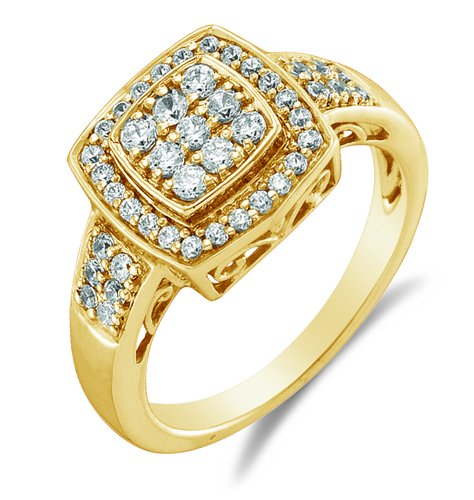 Size 10 - 10K Yellow Gold Diamond Halo Engagement Or Fashion Right Hand Ring Band - Square Princess Shape Center Setting W/ Channel Set Round Diamonds - (1/2 Cttw)