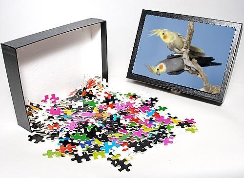 Photo Jigsaw Puzzle Of Cockatiel Birds - Two Perched On Branch front-13379