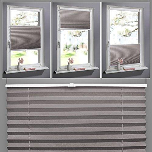 SHINY HOME Jalousien Plissee mit Gardinenstange Klemmträger Vorhang Single Elegant Sonnenschutzrollo für Fenster Tür ohne Bohren Fensterrollo Gardinen Kaffee 100x130cm