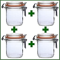 Set of 4 - Le Parfait French Wide Mouth Glass Canning Jars - 9.7 Oz Each by LeParfait