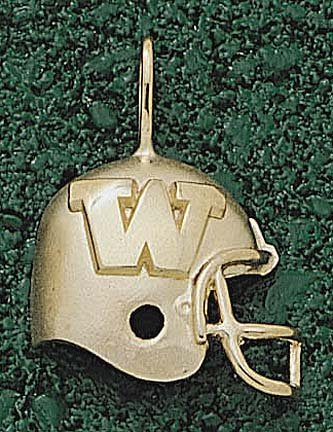 Washington Huskies W Helmet Pendant - 14KT Gold Jewelry by Logo Art
