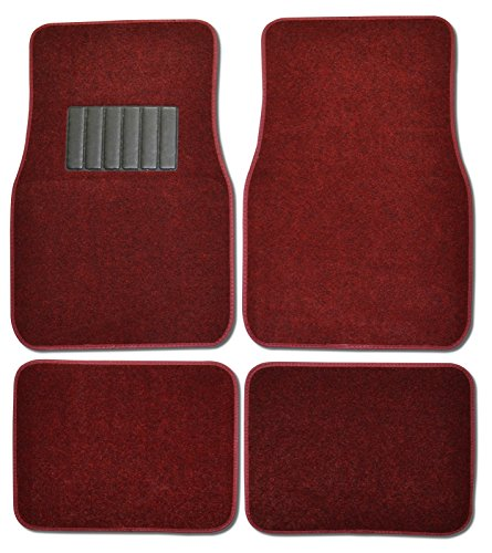 Front & Rear Carpet Car Truck Suv Floor Mats Burgundy Red front-541941