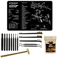 "Ultimate Arms Gear Gunsmith & Armorer's Cleaning Work Bench Gun Mat Glock Pistol Handgun + 8 pc Steel Pin Punch Center Disassembly Tool Set Kit Sizes: 1/16, 3/32, 1/8, 5/32, 3/16, 7/32, 1/4 + 8"" Brass Head Hammer Mallet Face + 3 Double Ended 7 "" Brushes -"