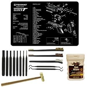 "Ultimate Arms Gear Gunsmith & Armorer's Cleaning Work Bench Gun Mat Glock Pistol Handgun + 8 pc Steel Pin Punch Center Disassembly Tool Set Kit Sizes: 1/16, 3/32, 1/8, 5/32, 3/16, 7/32, 1/4 + 8"" Brass Head Hammer Mallet Face + 3 Double Ended 7 "" Brushes -"
