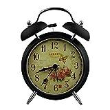 "UNIQUEBELLA 4"" Ultra Silent Quartz Analog Rose Twin Bell Loud Alarm Clock With Nightlight / illuminated silent sweep Hand Bedside Double Bell Alarm Clock, Black"