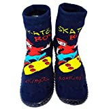 C2BB Baby boys Socks shoes with grippy rubber Skate boy blue Size 21 23