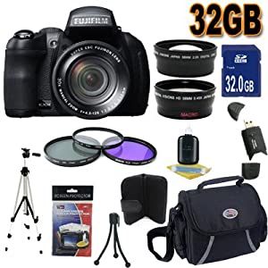 Fujifilm FinePix HS30EXR 16 MP Digital Camera Accessory Saver 32GB Bundle !!! (Black)