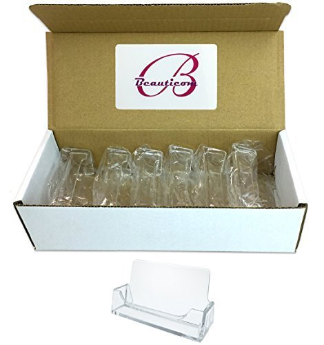 Beauticom 24 Pieces - Clear Plastic Business Card Holder Display Desktop Countertop (Style # 3) (Plastic Index Card Display compare prices)