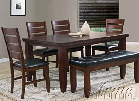 6pc Dining Table & Chairs Set in Cherry Finish