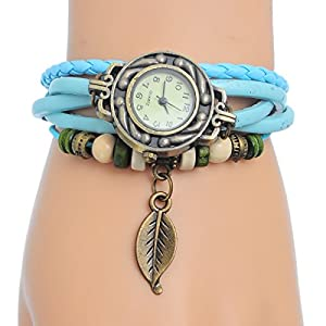 8Years(R) New Fashion Quartz Cool Weave Wrap Around Leather Bracelet Lady Woman Wrist Watch with Leaf Pendant (Light Blue)
