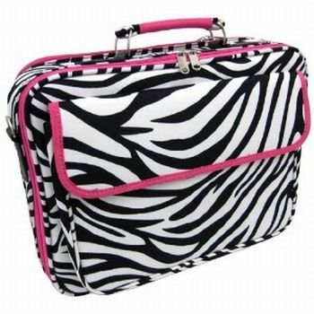 Zebra Hot Pink Laptop Bag Case 17