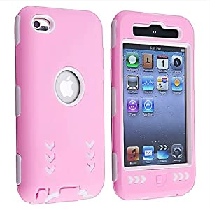 eForCity Hybrid Case Compatible with Apple® iPod touch® 4th Generation, White Hard / Pink Skin Arrow