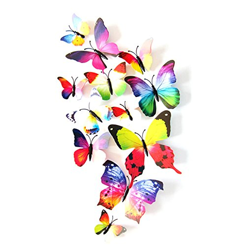 eizur 12pcs stickers muraux de papillons 3d mural autocollants bricolage aimant papillon. Black Bedroom Furniture Sets. Home Design Ideas