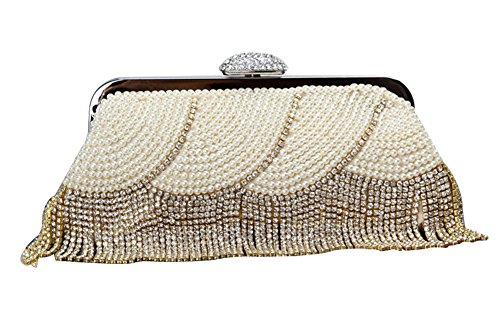 BAIGIO Borsetta da matrimonio effetto Diamante Borsetta da donna Modello elegante e moderno stile classico, Dorato