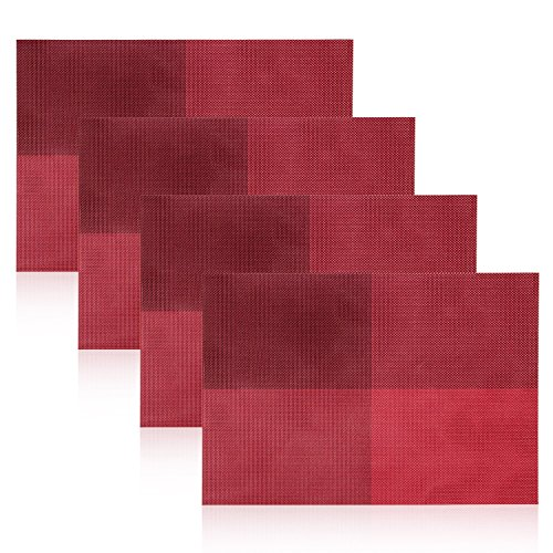 Placemats for Dining Table, Reachs PVC Dining Room Mats for Table Woven Vinyl Kitchen Placemat, Set of 4 (Kitchen Service Table compare prices)