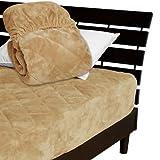 一体型 ベッドパッド ボックスシーツ を一体にした新商品 毛布生地で製造 メーカー直販 とろけるような肌触りふわふわ 一体型ボックスシーツ ワイドダブル 150×200×30cm キャメル