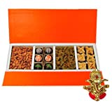 Chocholik Belgium Chocolates - Rich Treat Of Almonds, Raisin,truffles And Baklava Gift Box With Ganesha Idol -...