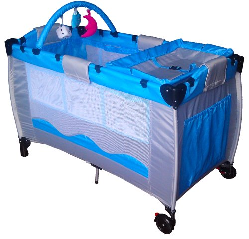 New Blue Portable Child Baby Travel Cot Bed Bassinet Playpen Play Pen With Toys Entryway Diaper Changer 120cm(L) x 60cm(W) x 78cm(H)