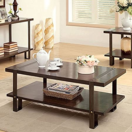 Arbor Rustic Style Dark Oak Finish Coffee Table