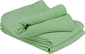 "Zwipes (673-6PK) Green 12"" x 16"" Waffle Weave Stemware, Bar and Kitchen Towels, (Pack of 6)"