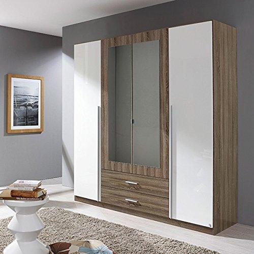 Kleiderschrank Hochglanz grau / weiß 4 Türen B 181 cm Schrank Drehtürenschrank Wäscheschrank Spiegelschrank Kinderzimmer Jugendzimmer günstig online kaufen