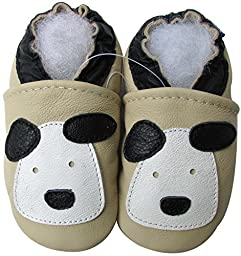 Carozoo baby boy soft sole leather infant toddler kids shoes Little Puppy Cream 5-6y
