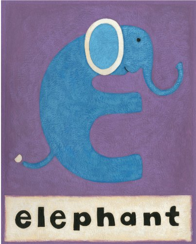 Green Frog Art Wall Decor, E is for Elephant