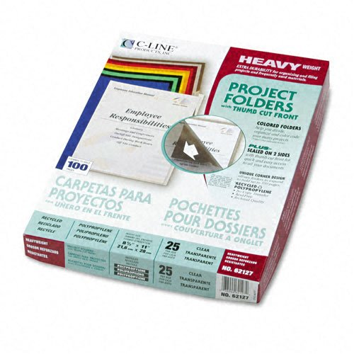 C-Line Products - C-Line - Project Folders, Jacket, Letter, Poly, Clear, 25/Box - Sold As 1 Box - Tear-resistant, static-free folders divide, organize and color-code work projects. - Open on two sides with thumb cut for easy access. - No photocopy transfe