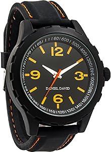 Daniel David Men |Orange Accent Black Band Sports-StyleWatch|DD14101