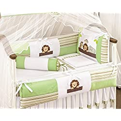 Jungle Themed Gren and Beige Baby Boys 10 Pcs Nursery Crib Set Embroidered