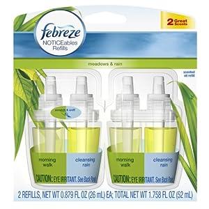 Febreze Noticeables Meadows & Rain Air Freshener Refill (2 Count; .879 Fl Oz Each), 1.758 Ounce