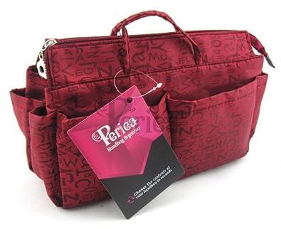 Periea Organiseur de sac à main (GRAND modèle) 13 Compartiments+ mousqueton GRATUIT - Rouge avec lettres - Keriea