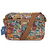 Disney Mickey Label Pattern Canvas Mini Shoulder Bag Retro Messenger Bag 014