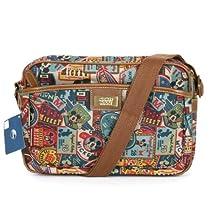 Disney Mickey Label Pattern Canvas Mini Shoulder Bag Retro Messenger Bag 014