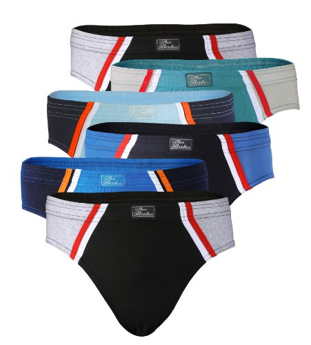 6 pack Mens Cotton Briefs, Underwear 100% Cotton (Asorted colors)  (Large)