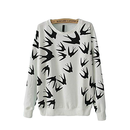 Minetom Felpa da Donna Pullover Top Swallows Stampa, Manica Lunga ( Bianco IT 38 )