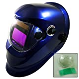 Solar Powered Auto Darkening Welding Helmet ARC TIG MIG MMA Metallic Blue Fin...