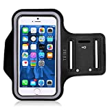 Tribe AB66 Water Resistant Sports Armband with Key Holder for iPhone 6 Plus, 6S Plus (5.5-Inch), Galaxy S6/S5, Note 4 Bundle with Screen Protector - Black
