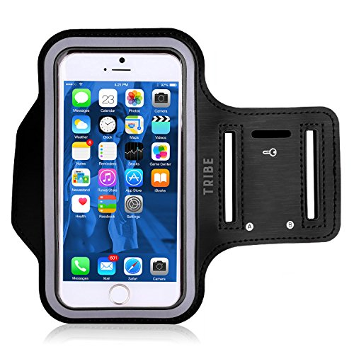 Tribe AB37 Water Resistant Sports Armband with Key Holder for iPhone 6, 6S (4.7-Inch), Galaxy S3/S4, iPhone 5/5C/5S, Bundle with Screen Protector