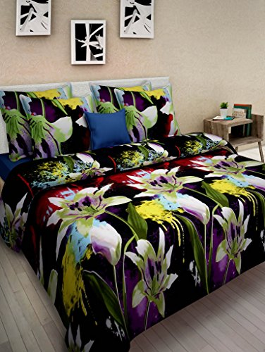 Homefab India 3D Printed Double Bed-Sheet with 2 Pillow covers