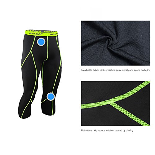 Baleaf Men's Cool Running Fitness Compression 3/4 Leggings Tights Black Fluorescent Yellow Size XL