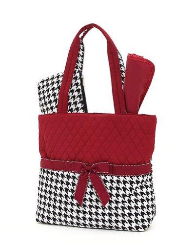 belvah quilted houndstooth 3pc diaper bag black maroon designer nappy bags. Black Bedroom Furniture Sets. Home Design Ideas
