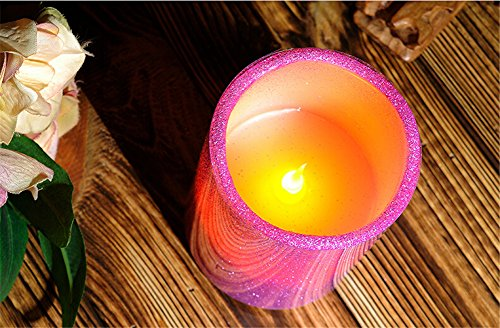 Fancy purple led flameless candle dfl 3x6 inch flameless real wax pillar electronic led candle with timer with embossed gold pearl
