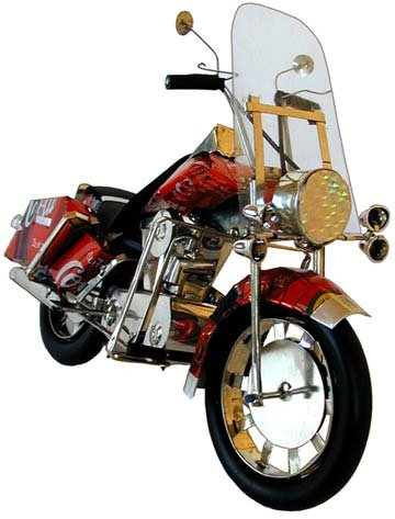 Harley Davidson Motorcycle Folk Art from Recycled Cans