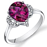 Peora 14K White Gold Pear Created Ruby Diamond Ring (3.3 cttw)